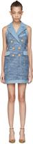 Balmain Blue Tweed & Denim Dress