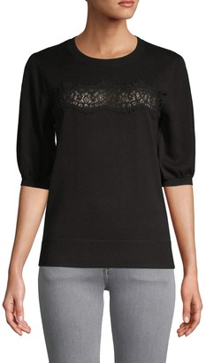 Laundry by Shelli Segal Lace Front Cotton-Blend Sweater