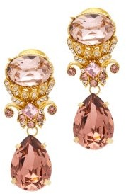 Dolce & Gabbana Set Of Two Crystal-embellished Brooches - Womens - Pink Gold