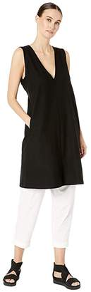 Eileen Fisher Lightweight Washable Stretch Crepe Deep V-Neck Layering Dress (Black) Women's Clothing
