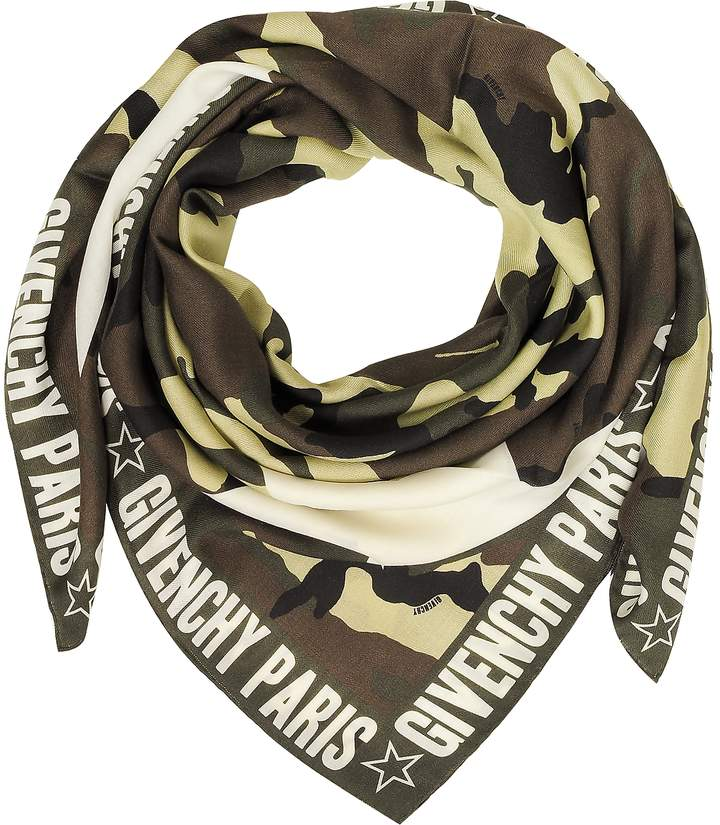 Givenchy Green Camouflage Stars Printed Wool and Silk Wrap