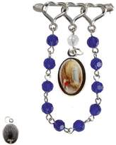 Gifts by Lulee Our Lady of Lourdes Silver Plated Lapel Pin Chaplet with Glass Beads and Blessed Holy Card