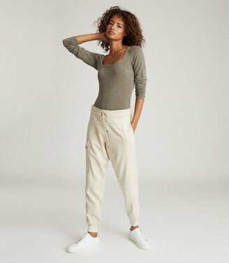 Reiss Melina - Cotton-blend Cuffed Joggers in Neutral