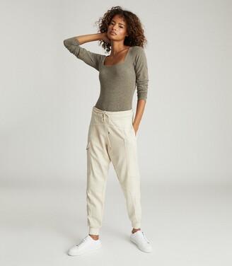 Reiss Melina - Cotton-blend Loungewear Joggers in Neutral