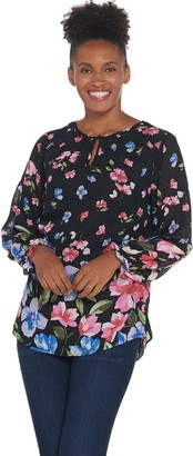 Isaac Mizrahi Live! Floral Border Print Woven Tunic w/ Smocked Sleeve