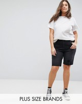 New Look Plus New Look Curve Studded Washed Black Knee Short