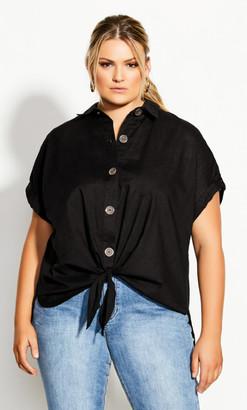 City Chic Explore Button Shirt - black