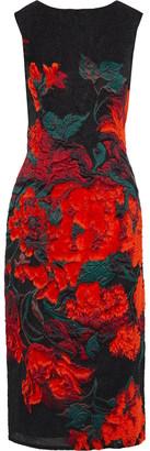 Oscar de la Renta Fil Coupe Floral-jacquard Midi Dress