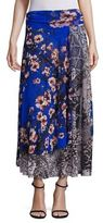 Fuzzi Vintage Floral Patch Maxi Skirt