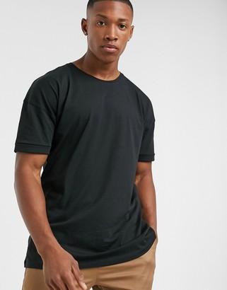 Selected drop shoulder oversized t-shirt in black