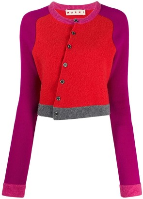 Marni Diagonal Buttons Cropped Cardigan