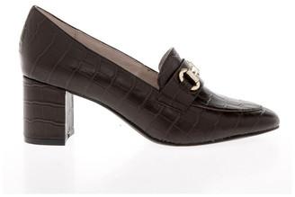 Basque Gretel Brown Croc Print Cow Leather Heeled Shoe