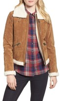 Lucky Brand Women's Leather Jacket With Faux Fur Trim