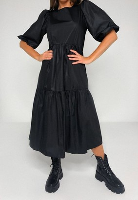 Missguided Tall Black Puff Sleeve Woven Smock Dress