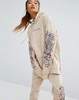 Criminal Damage Oversized Hoodie With Arm Embroidery Co-Ord