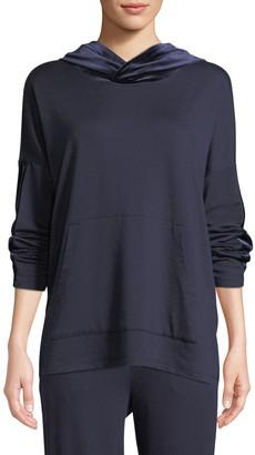 Eileen Fisher Plus Size Velvet-Trim Hooded Terry Pullover Sweatshirt