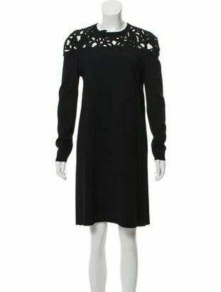 Valentino Long Sleeve Embroidered Cutout Dress Black