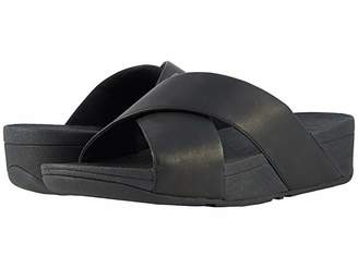 FitFlop Lulu Cross Slide Leather Sandal (Black) Women's Sandals