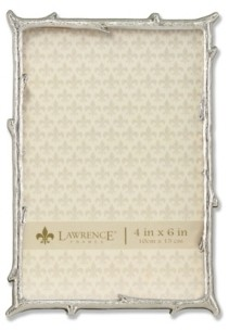 """Lawrence Frames Silver Metal Picture Frame with Natural Branch Design - 4"""" x 6"""""""