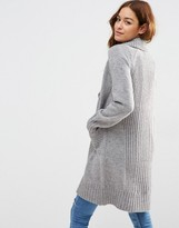 Asos Coatigan With Ribbed Back