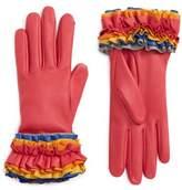 Agnelle Women's Ruffle Lambskin Leather Gloves