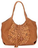 Henry Beguelin Canotta Medium Woven Hobo Bag, Beige