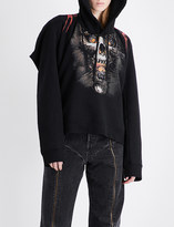 Vetements Goth skull and flame-print jersey hoody