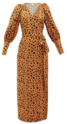 Rhode Resort Aspen Cheetah-print Satin Wrap Dress - Leopard