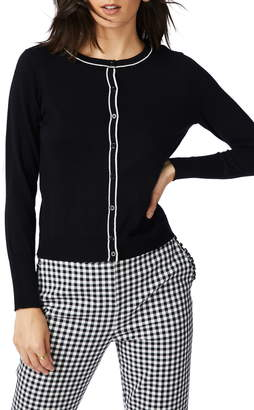 Court & Rowe Light Luxe Tipped Cotton & Silk Cardigan