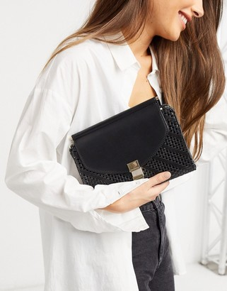 Fiorelli penelope clutch bag with chain strap in black weave