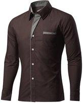 Generic Mens Casual Slim Fit Shirt Formal Button Dress Shirt XL