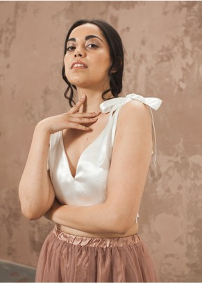 The Naked Laundry Tie On Bow Crop Top- Off White