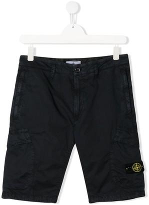 Stone Island Junior TEEN compass badge cargo shorts