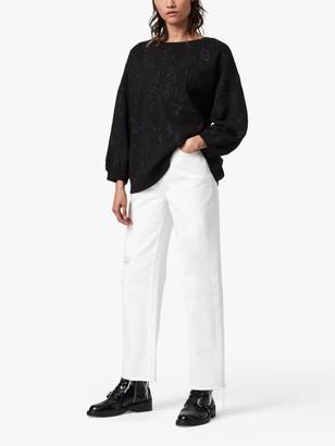 AllSaints Storn Masala Crew Neck Embroidered Sweatshirt, Black