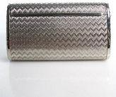 Saks Fifth Avenue Silver Metal Small Single Strap Clutch Crossbody Handbag