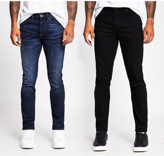 River Island Black and blue Dylan slim denim jeans 2 pack