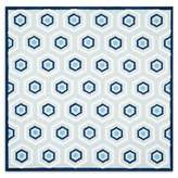 Safavieh Kids 6-Foot Square Hexagon Print Area Rug in Blue/Ivory