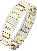 The Jewelbox Geometric Solid 316L Surgical Stainless Steel Two Tone Gold Rhodium Plated Bracelet For Men