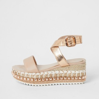 River Island Rose gold studded espadrille flatform sandals
