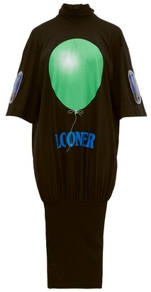 Christopher Kane Looner Balloon-print Cotton Dress - Black