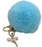 Bestpriceam Rabbit Fur Ball Keychain Bag Plush Car Key Ring Car Key Pendant (Sky Blue)