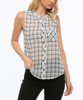 Black & Off White Plaid Sleeveless Button-Up Top