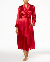 Thalia Sodi Velour-Trimmed Long Satin Robe, Only at Macy's