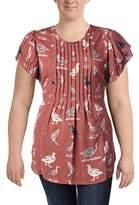 Melissa McCarthy Women's Plus Size Tie Front Flutter Sleeve Blouse