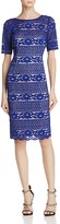 Adrianna Papell Short-Sleeve Lace Sheath Dress