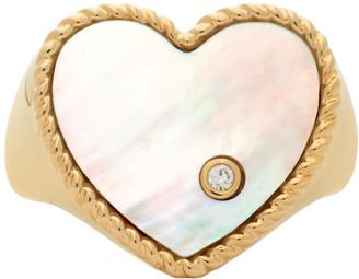 Yvonne Léon Gold Pearl Coeur Signet Ring