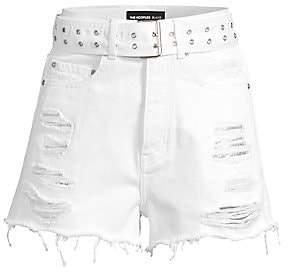 The Kooples Women's Belted & Distressed Denim Cutoff Shorts