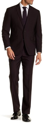 Kenneth Cole Reaction Burgundy Solid Two Button Notch Lapel Performance Stretch Slim Fit Suit