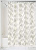 InterDesign Sketched Chevron Fabric Shower Curtain, 72x72-Inch, Gold