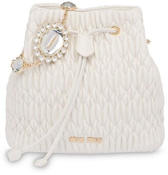 Miu Miu Crystal-Embellished Matelasse Bucket Bag
